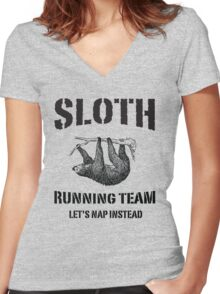 Sloth Running Team. Let's Nap Instead Women's Fitted V-Neck T-Shirt