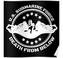 Cool U.S. Submarine Force, Death from Below logo, stars and circle Poster