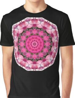 Beautiful pink Blossoms 001, Nature Mandala Graphic T-Shirt