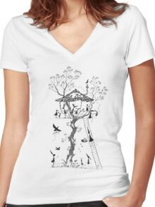 Pen and Ink Illustration of a Treehouse inhabited by Mice, Rabbits and Birds Women's Fitted V-Neck T-Shirt