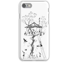 Pen and Ink Illustration of a Treehouse inhabited by Mice, Rabbits and Birds iPhone Case/Skin