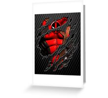 Red Ninja chest ripped torn tee Greeting Card
