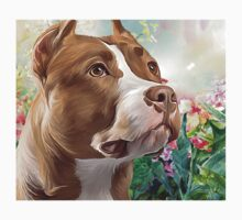 Pit Bull Painting  One Piece - Short Sleeve