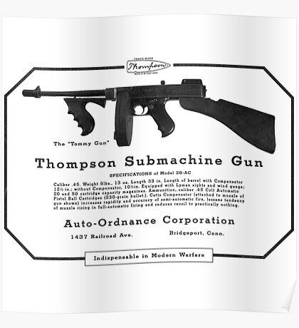 Thompson Submachine Gun. Poster