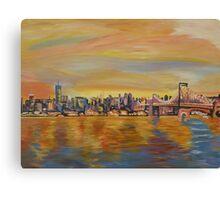 Golden Manhattan Skyline with One World Trade Center and Manhattan Bridge  Canvas Print
