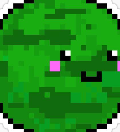Cute 8 Bit Green Planet Sticker