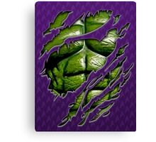 Green muscle chest in purple ripped torn tee Canvas Print