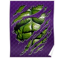 Green muscle chest in purple ripped torn tee Poster