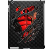 Red Ninja chest ripped torn tee iPad Case/Skin