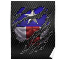 Star and stripes chest ripped torn tee Poster