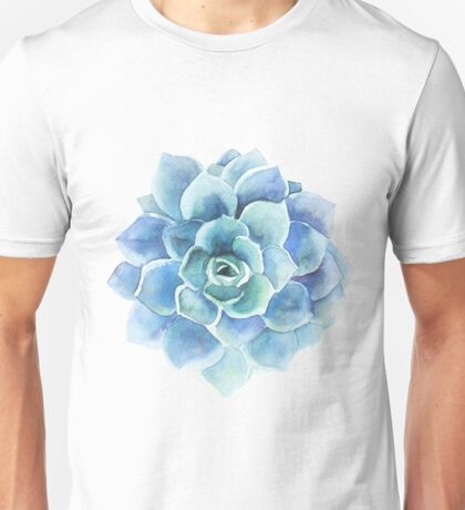 Watercolor blue tones succulent illustration Unisex T-Shirt