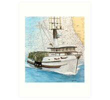 MARIE THERESE Crab Fishing Boat Cathy Peek Nautical Chart Map Art Print
