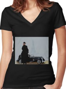 Woman in nice dress and hat against retro car Women's Fitted V-Neck T-Shirt
