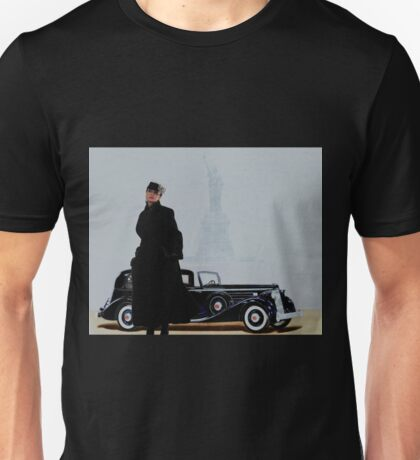 Woman in nice dress and hat against retro car Unisex T-Shirt