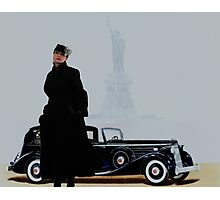 Woman in nice dress and hat against retro car Photographic Print