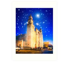 The Stars Shine Down On Historic Merida Cathedral - Mexico Art Print