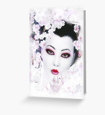 Geisha - White Cherry Geisha Greeting Card