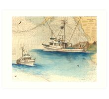SCOOTER Crab Fishing Boat Cathy Peek Nautical Chart Map Art Print
