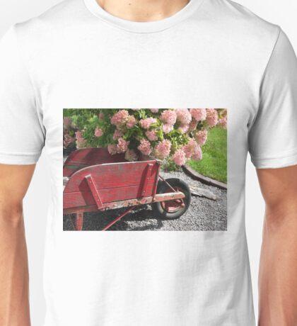 Old Wood Wheelbarrow with Peegee hydrangea Unisex T-Shirt