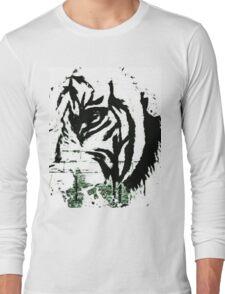 Kaz Art Creations B & W Tiger Ready Long Sleeve T-Shirt