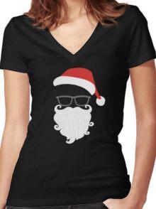 Funny Christmas Mustache Nerd Glasses Santa Women's Fitted V-Neck T-Shirt