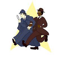 Data and Geordi as Sherlock and Watson Photographic Print
