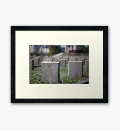 military cemetery empty gravestone Framed Print