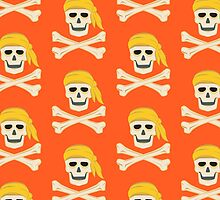 Crossbones skulls with Orange background by o2creativeNY