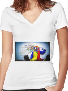 tears of a clown Women's Fitted V-Neck T-Shirt