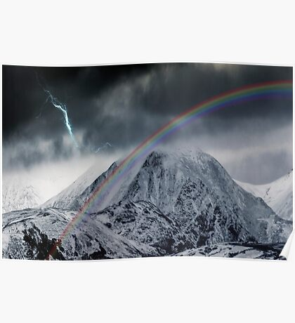 Rainbow and Lightning Bolt Over Snow Covered Mountains Poster