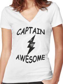 CAPTAIN AWESOME TSHIRT Funny Humor TEE COMIC VINTAGE New LIGHTNING VTG 80s Cool Women's Fitted V-Neck T-Shirt