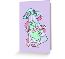UFO cat alien introvert pastel grunge 99s hologram xfiles Greeting Card