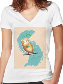 Rowlet - Pokemon Sun and Moon Women's Fitted V-Neck T-Shirt