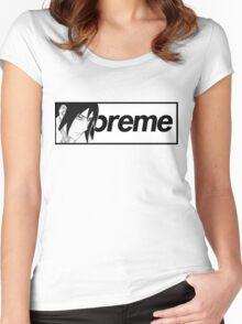 Sasuke Naruto x Supreme Parody Collab Big Box Logo Women's Fitted Scoop T-Shirt