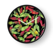 Chilly harvest (coloured pencil) Clock