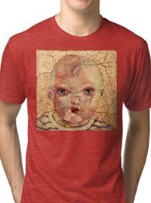 """Nothing to Fix"" (antique boy doll) Tri-blend T-Shirt"