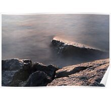 Rough and Soft - Rocks on the Beach at Sunrise Poster