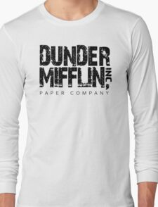 DUNDER MIFFLIN TSHIRT Funny Humor THE OFFICE TEE Paper COMPANY Dwight Humorous Long Sleeve T-Shirt