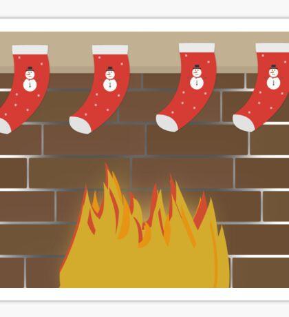 Christmas Fireplace Sticker