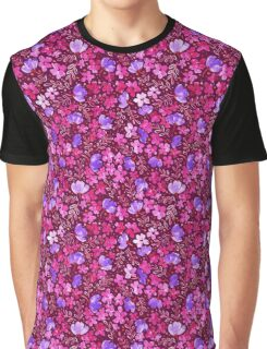 Love Blossoms - Floral Pattern Dark Pink Background Graphic T-Shirt