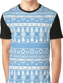 Seamless christmas lace ornament pattern on blue background Graphic T-Shirt