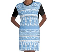 Seamless christmas lace ornament pattern on blue background Graphic T-Shirt Dress