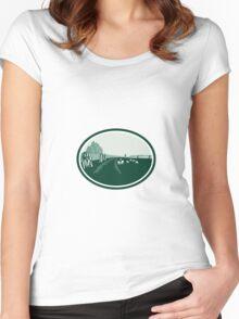 Avebury Stone Henge Circle Retro Women's Fitted Scoop T-Shirt