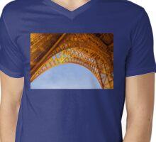 Golden Eiffel Tower Mens V-Neck T-Shirt