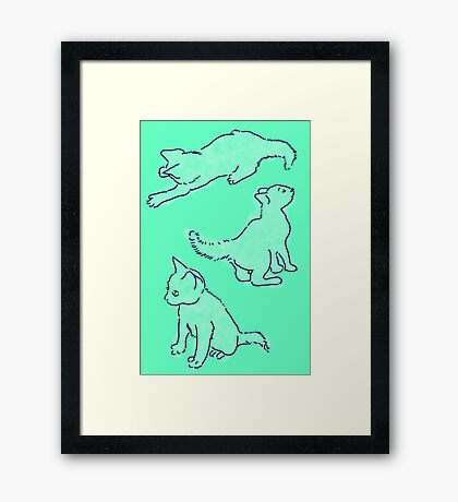 Kitty playing on green Framed Print