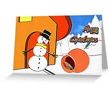 Merry Christmas from Mr Snowman and the Red, Red Robin Greeting Card