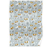Snowy Owls pattern (Bubo scandiacus) Poster