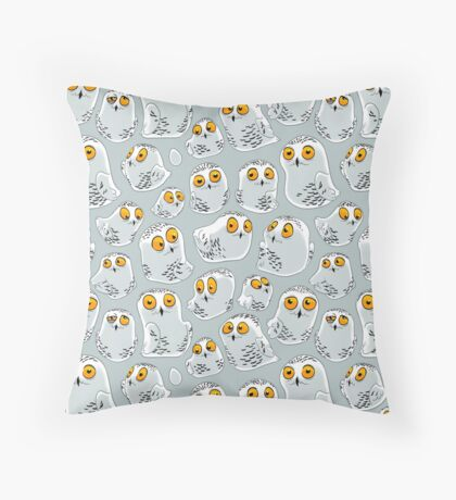 Snowy Owls pattern (Bubo scandiacus) Throw Pillow
