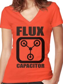 FLUX CAPACITOR TSHIRT Funny BACK TO THE FUTURE TEE Humor 80s DOC BROWN Marty VTG Women's Fitted V-Neck T-Shirt