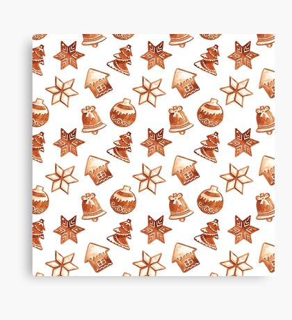 Seamless pattern with watercolor Christmas ginger cookies Canvas Print